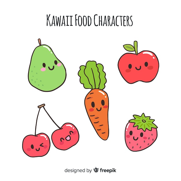 Hand drawn fruit and vegetable characters collection Free Vector