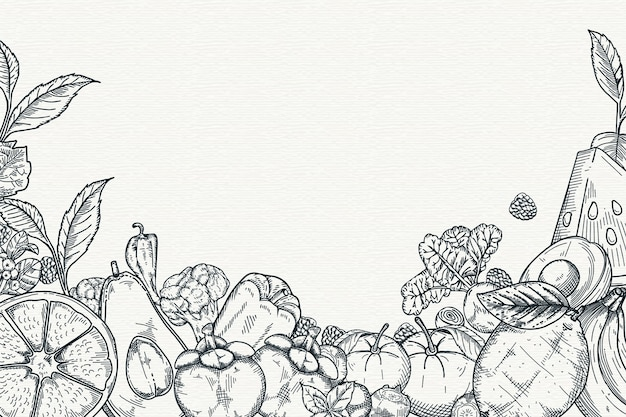 Hand drawn fruit and vegetables background Free Vector