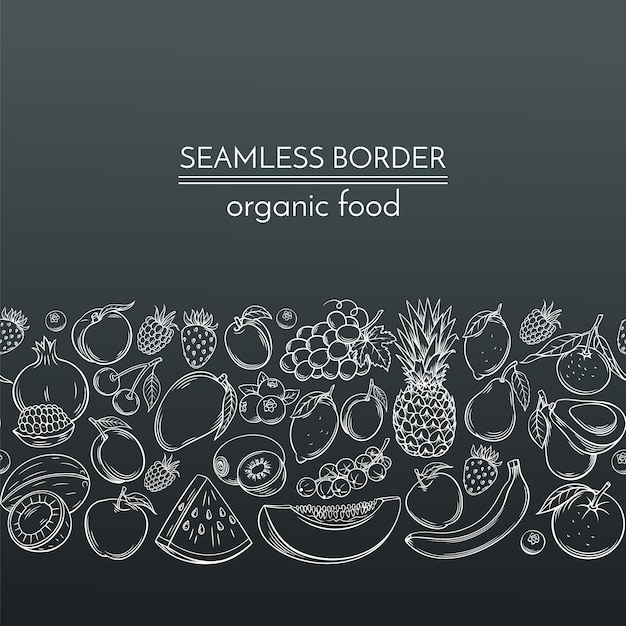 Hand drawn fruits for farmers market Premium Vector