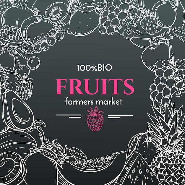 Нарисованные от руки фрукты для фермеров рынка меню Premium векторы