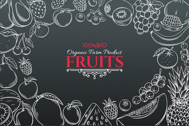 Рисованной фрукты для фермеров рынка Premium векторы
