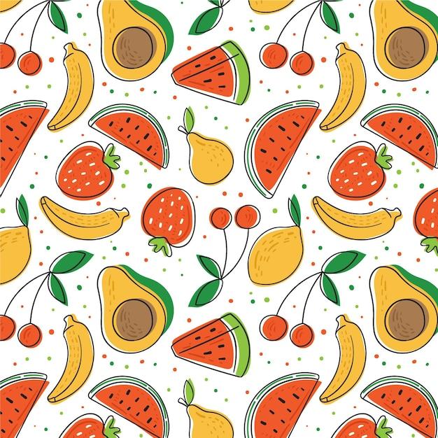 アボカドとスイカの手描きフルーツパターン Premiumベクター
