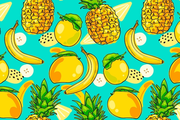 Hand drawn fruits pattern with pineapple Free Vector