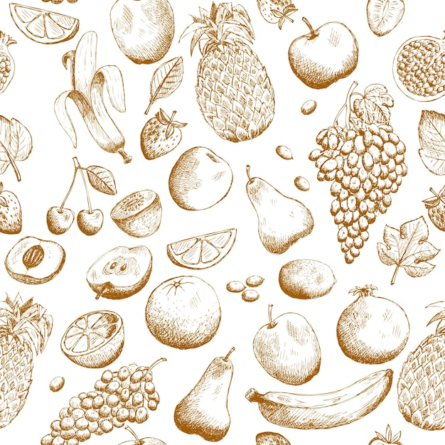Hand drawn fruits seamless pattern Free Vector