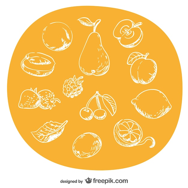 Hand-drawn fruits set Free Vector