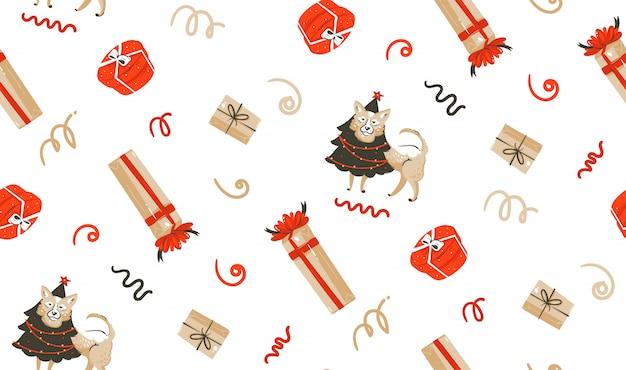 Ручной обращается весело счастливого рождества время енота иллюстрации бесшовные модели с собакой в праздничный костюм и рождественские сюрпризы подарочные коробки на белом фоне Premium векторы