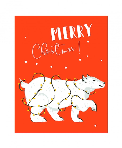 Hand drawn   fun merry christmas time coon illustrations card  template with white polar bear and lights garland  on red background Premium Vector