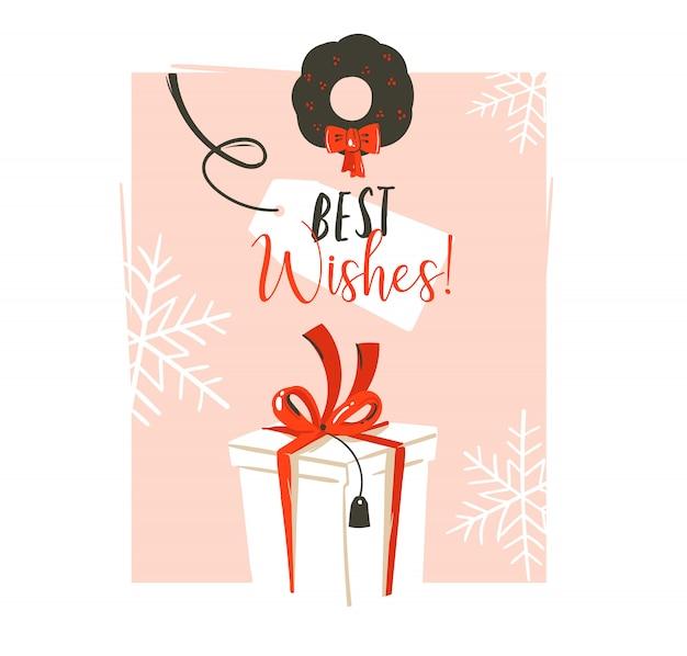 手描きの楽しいメリークリスマス時間あらいくまビンテージグリーティングカードと大きな白い驚きのギフトボックスとピンクのパステル背景に最高の願いのタイポグラフィ Premiumベクター