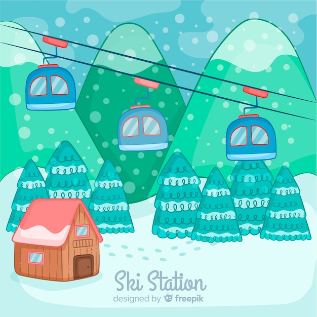 Hand drawn funicular winter landscape Free Vector