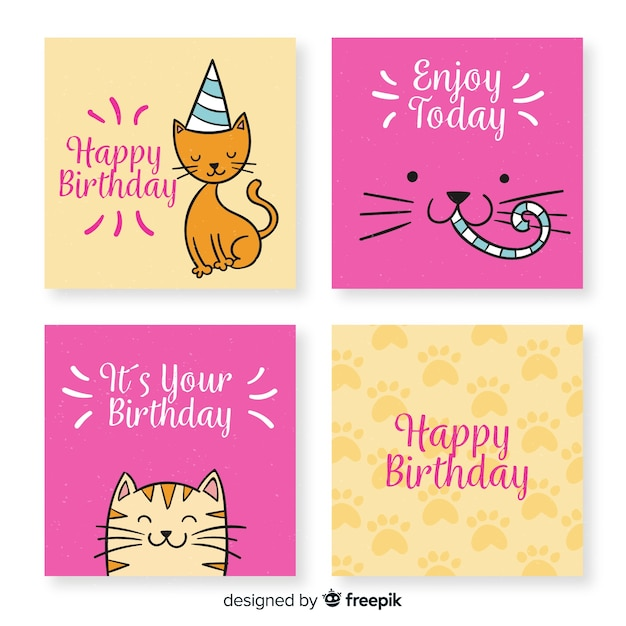 Hand drawn funny birthday card collection Free Vector