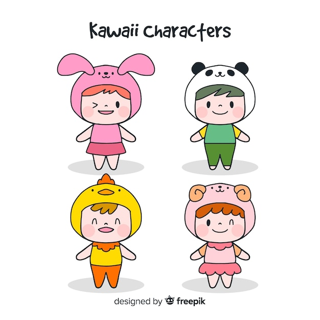 Hand drawn funny characters collection Free Vector