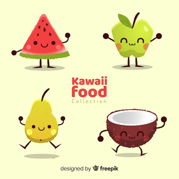 Hand drawn funny food collection Free Vector