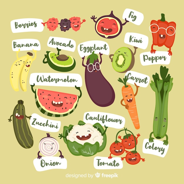 Hand drawn funny fruit and vegetable background Free Vector