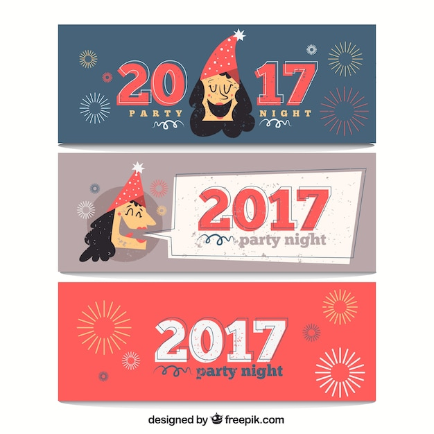 Hand drawn funny new year banners Free Vector