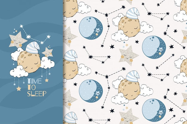 Hand drawn funny object planet and stars card and seamless pattern illustration. time to sleep. Premium Vector