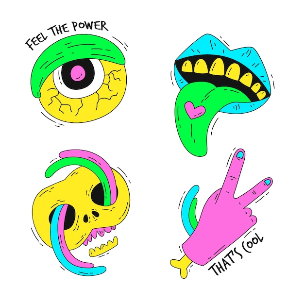 Hand drawn funny sticker collection with acid colors Free Vector