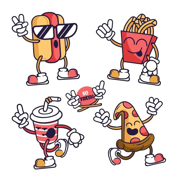 Коллекция рисованной смешные наклейки с едой Бесплатные векторы