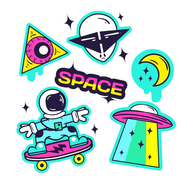 Hand drawn funny sticker collection with space Free Vector