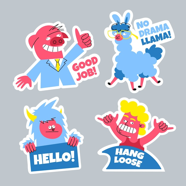 Hand drawn funny sticker collection Free Vector
