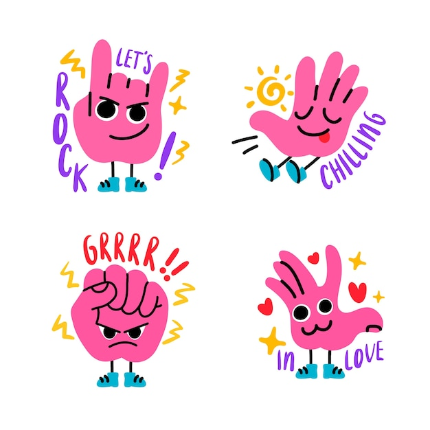 Hand drawn funny sticker pack Free Vector