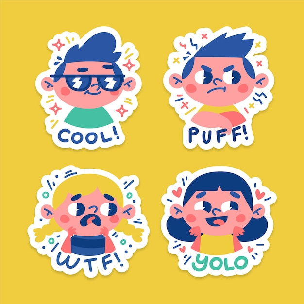 Hand drawn funny stickers with faces pack Premium Vector