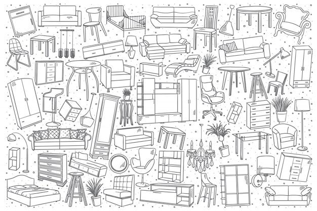 Hand drawn furniture set Premium Vector