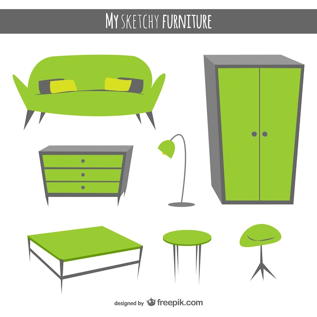 Hand drawn furniture vectors vector free download for Mueble vector