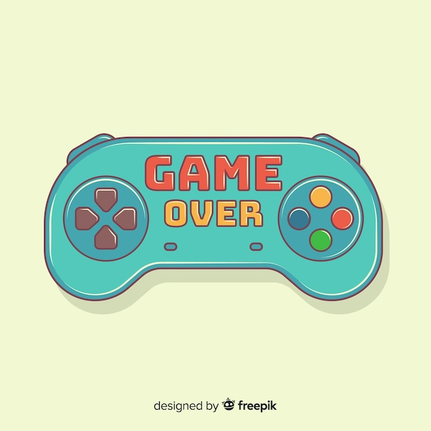 Hand drawn game pad logo Free Vector
