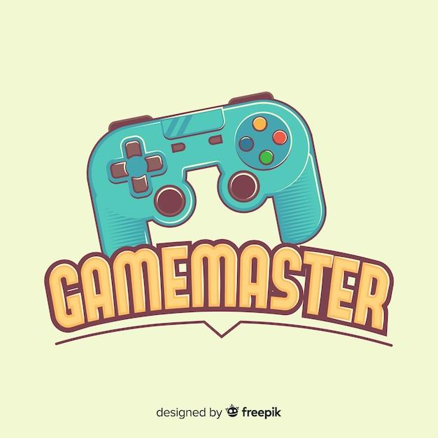 手描きゲームパッドのロゴ Premiumベクター
