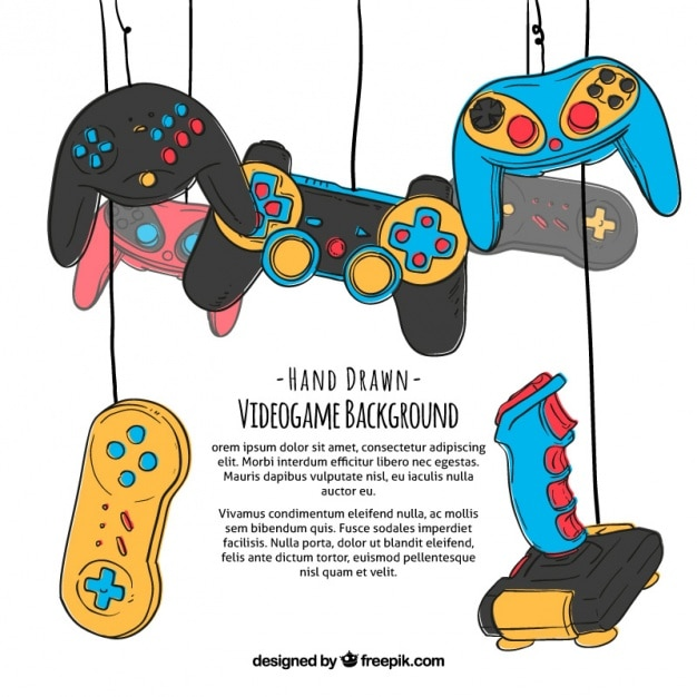 Hand drawn gaming background Free Vector