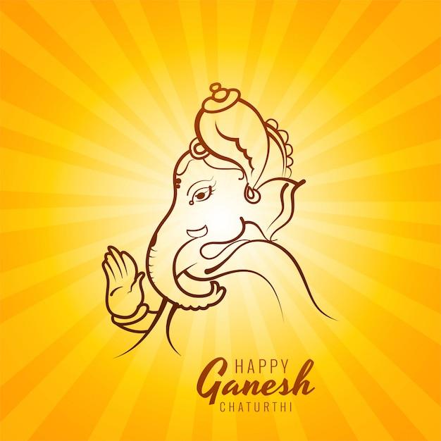 Ganesh chaturthi card design disegnato a mano Vettore gratuito