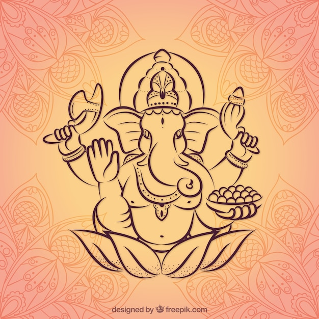 Hand drawn ganesha background Free Vector