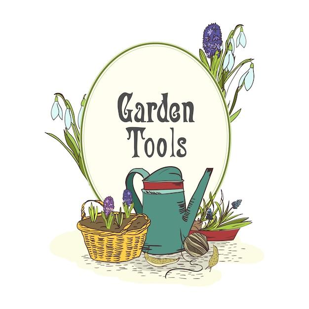 Hand drawn gardening tools emblem Free Vector