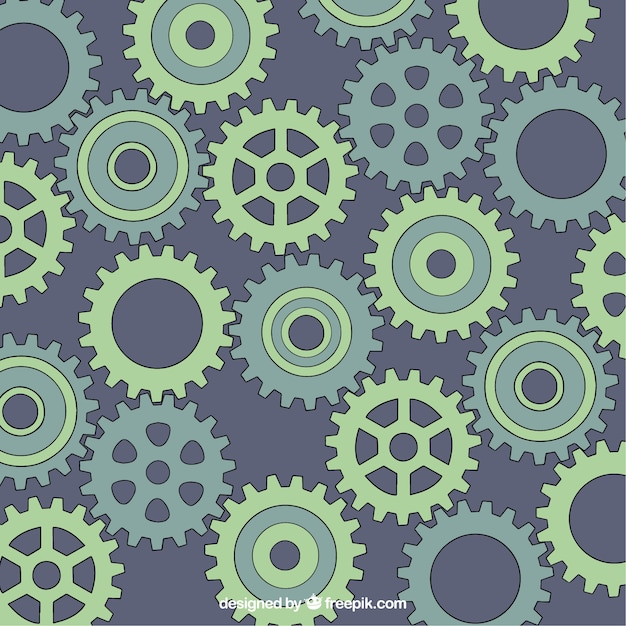 Hand drawn gear background in green tones Free Vector