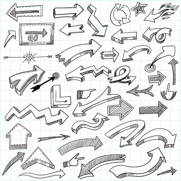 손으로 그린 기하학적 낙서 화살표 세트 디자인 무료 벡터