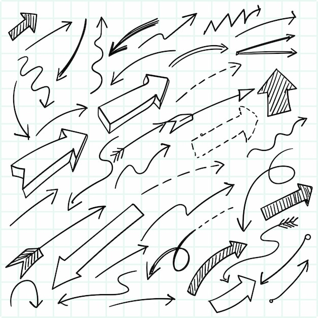 Hand drawn geometric doodle arrow set design Free Vector