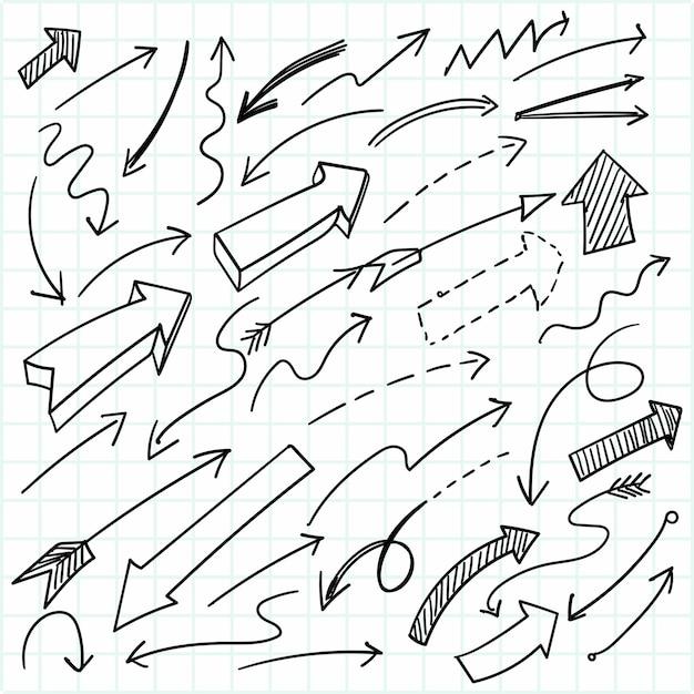 Disegno stabilito della freccia di doodle geometrico disegnato a mano Vettore gratuito
