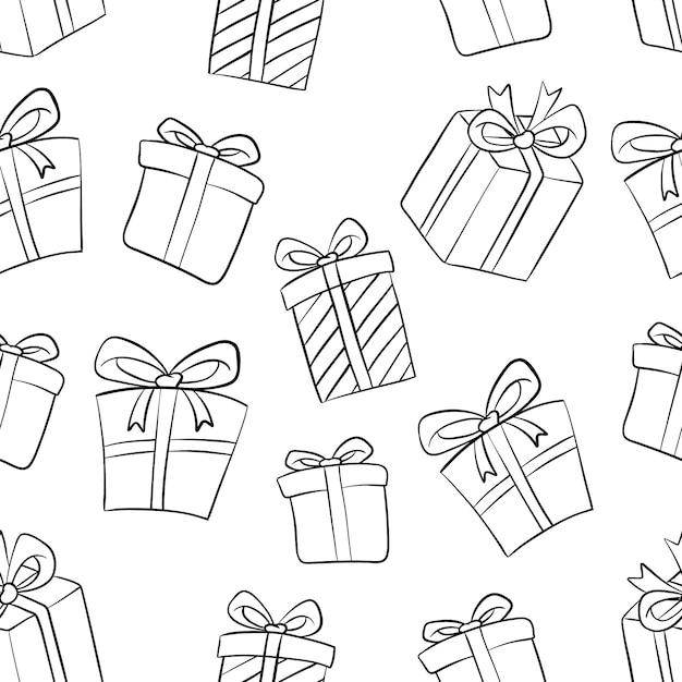 Hand drawn gift box seamless pattern on white Premium Vector