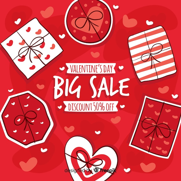 Hand drawn gifts valentine sale background Free Vector