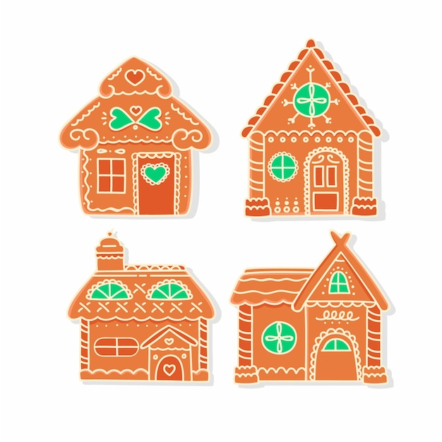 Hand drawn gingerbread house collection Free Vector
