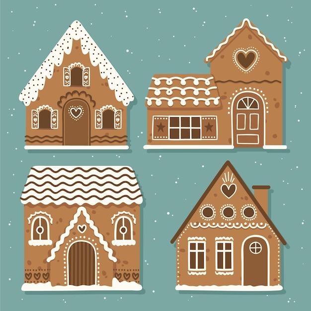 Collezione di casa di marzapane disegnata a mano Vettore gratuito