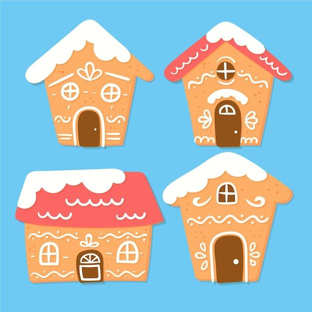 Set casa di marzapane disegnato a mano Vettore gratuito