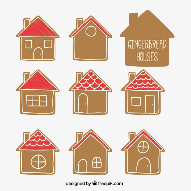 Hand drawn gingerbread houses Vector Free Download
