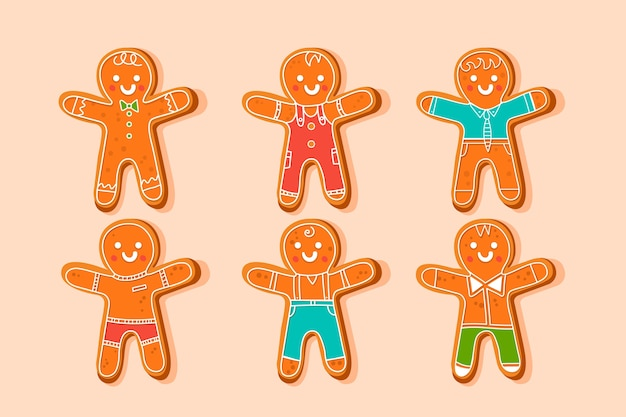 Hand drawn gingerbread man cookie collection Free Vector