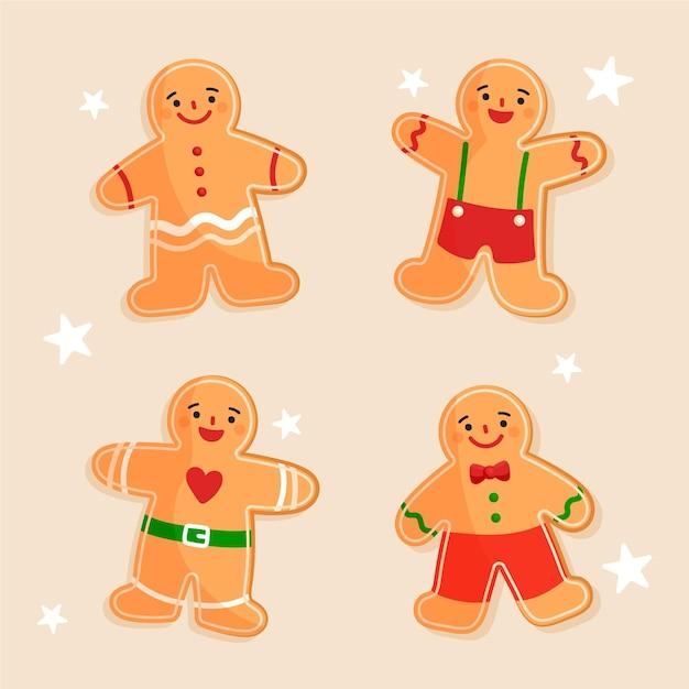 手描きのジンジャーブレッドマンクッキーコレクション 無料ベクター