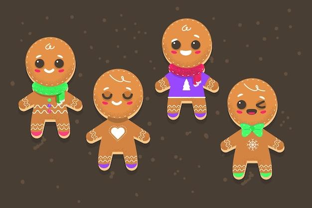 手描きのジンジャーブレッドマンクッキーコレクション Premiumベクター