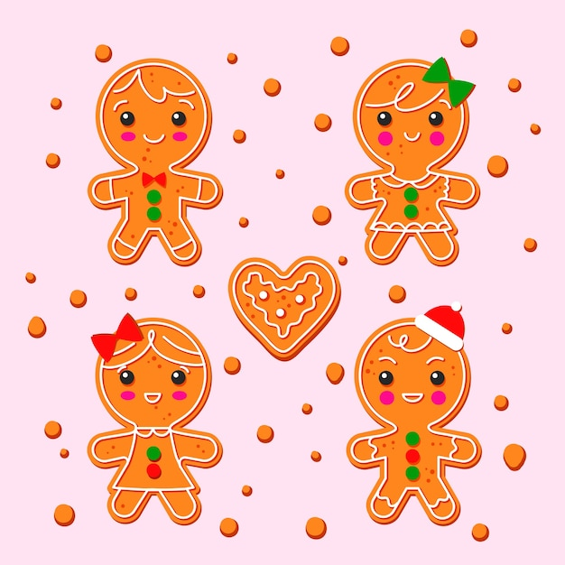 Hand drawn gingerbread man cookie set Free Vector