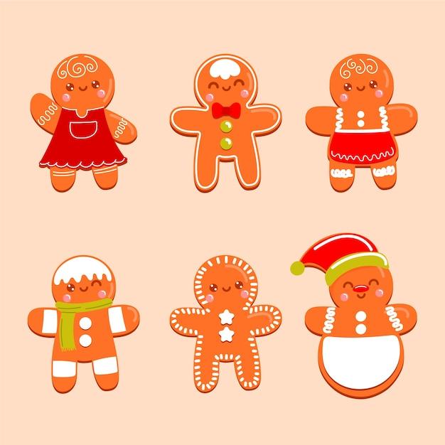 Hand drawn gingerbread man cookies Free Vector