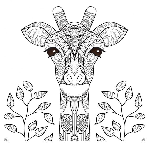 Рисованный фон жирафа Бесплатные векторы