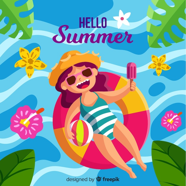 Hand drawn girl floating on swimming pool summer background Free Vector